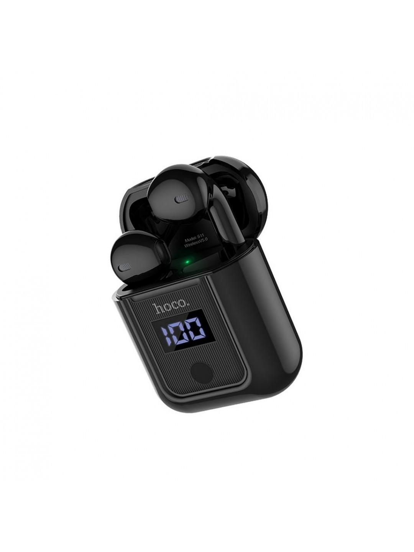 Wireless Ακουστικά Stereo Hoco S11 Melody v5.0 με Οθόνη στην Βάση Φόρτισης Μαύρα