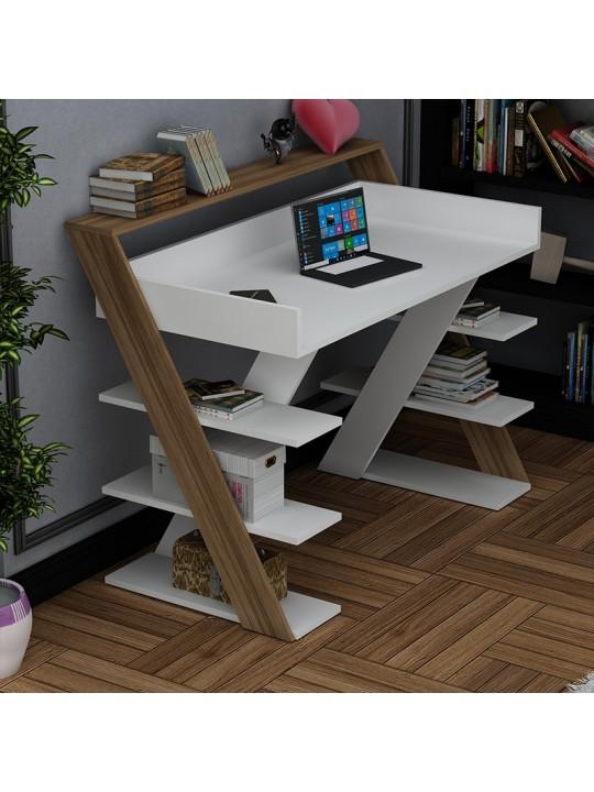 Γραφείο Matrix pakoworld χρώμα λευκό-καρυδί 123.5x55x95.5εκ