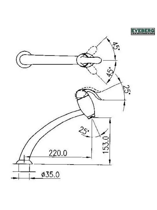 Μπαταρία νιπτήρα-νεροχύτη αναμεικτική Eveberg Cuore χρωμέ